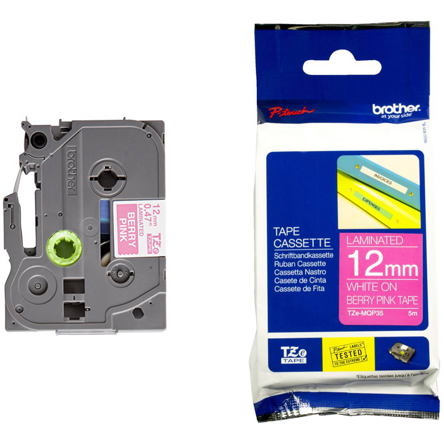 Original Brother TZeMQP35 White on Berry Pink 12mm x 5m Laminated P-Touch Label Tape (TZe-MQP35)