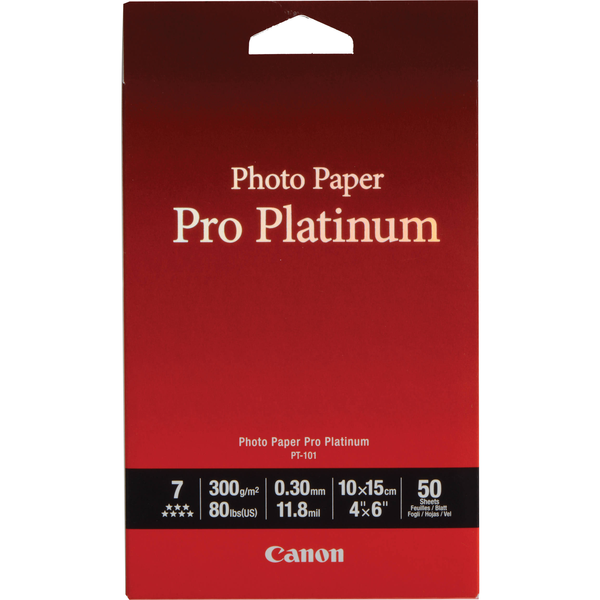Original Canon PT-101 300gsm 4 x 6in Pro Platinum Photo Paper - 50 sheets (2768B014)