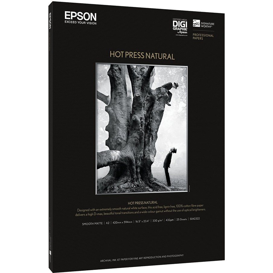 Original Epson 330gsm A3+ Hot Press Natural Photo Paper - 25 sheets (C13S042320)