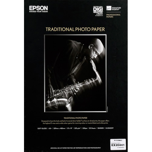 Original Epson 330gsm A3+ Traditional Photo Paper 25 sheets (C13S045051)