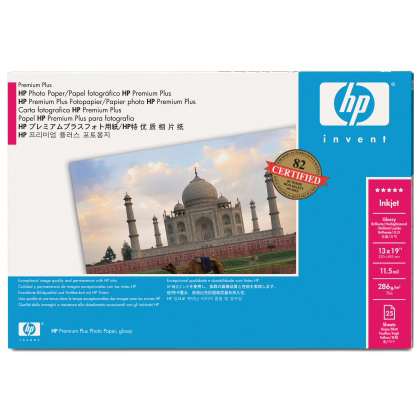Original HP 286gsm 13in x 19in A3+ Premium Gloss Photo Paper - 25 sheets (Q5486A)