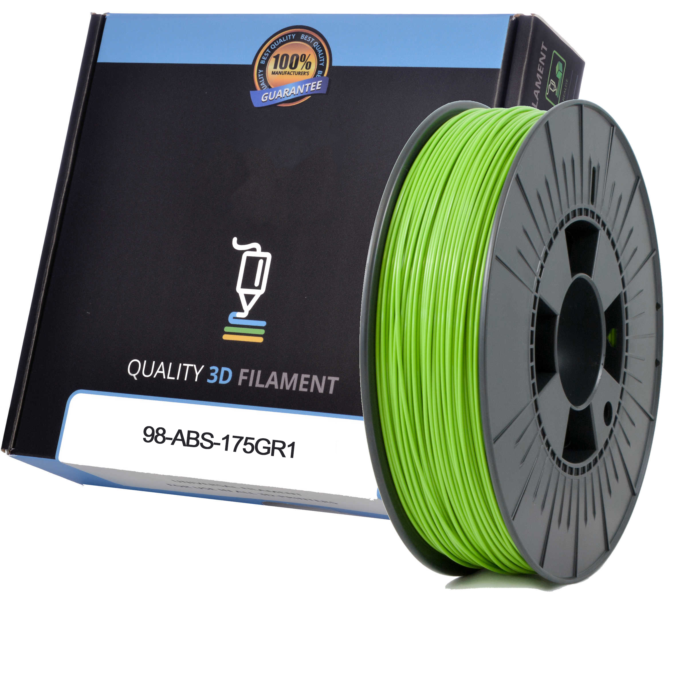 Premium Compatible ABS 1.75mm Apple Green 0.5kg 3D Filament (98-ABS-175GR1)