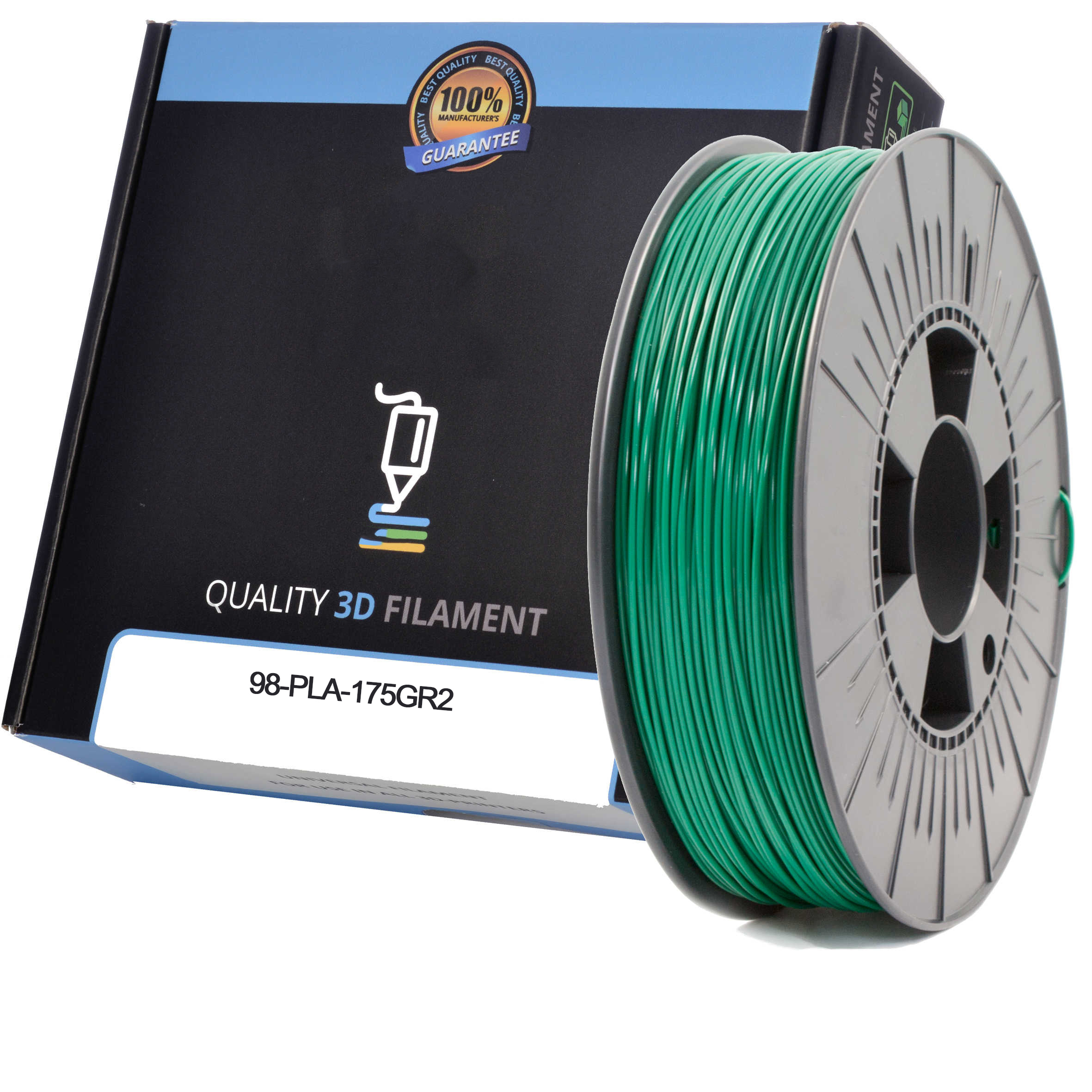 Premium Compatible PLA 1.75mm Dark Green 0.5kg 3D Filament (98-PLA-175GR2)