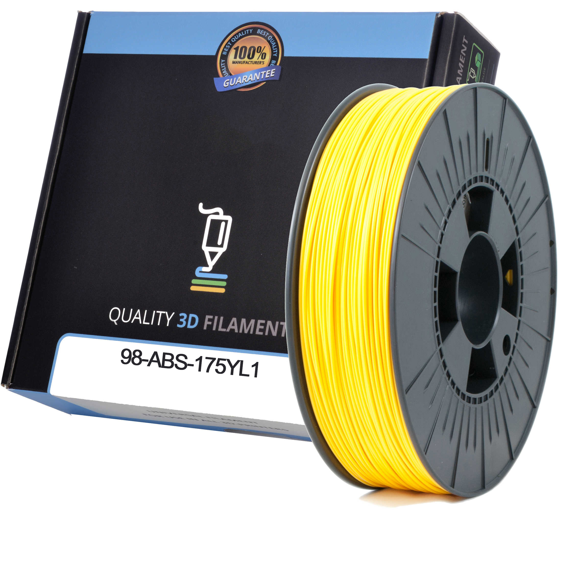 Premium Compatible ABS 1.75mm Yellow 0.5kg 3D Filament (98-ABS-175YL1)