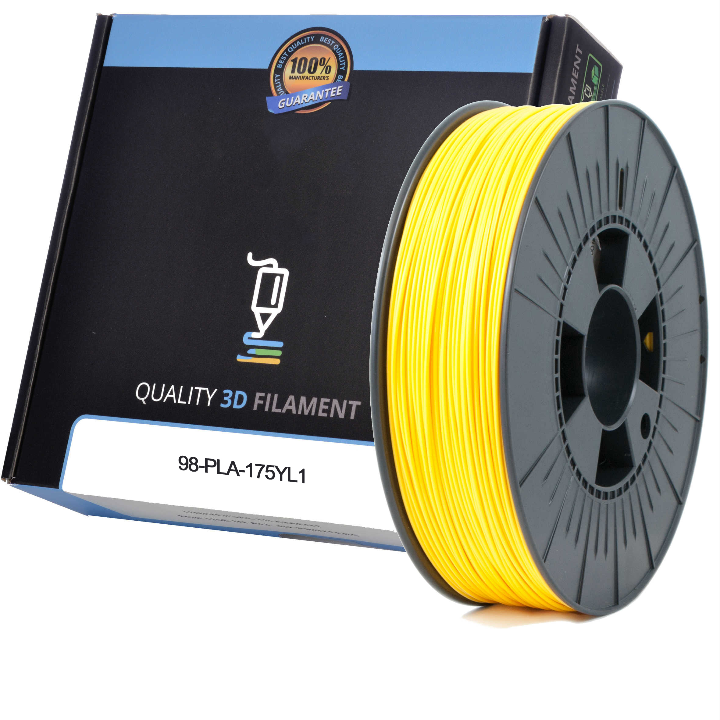 Premium Compatible PLA 1.75mm Yellow 0.5kg 3D Filament (98-PLA-175YL1)