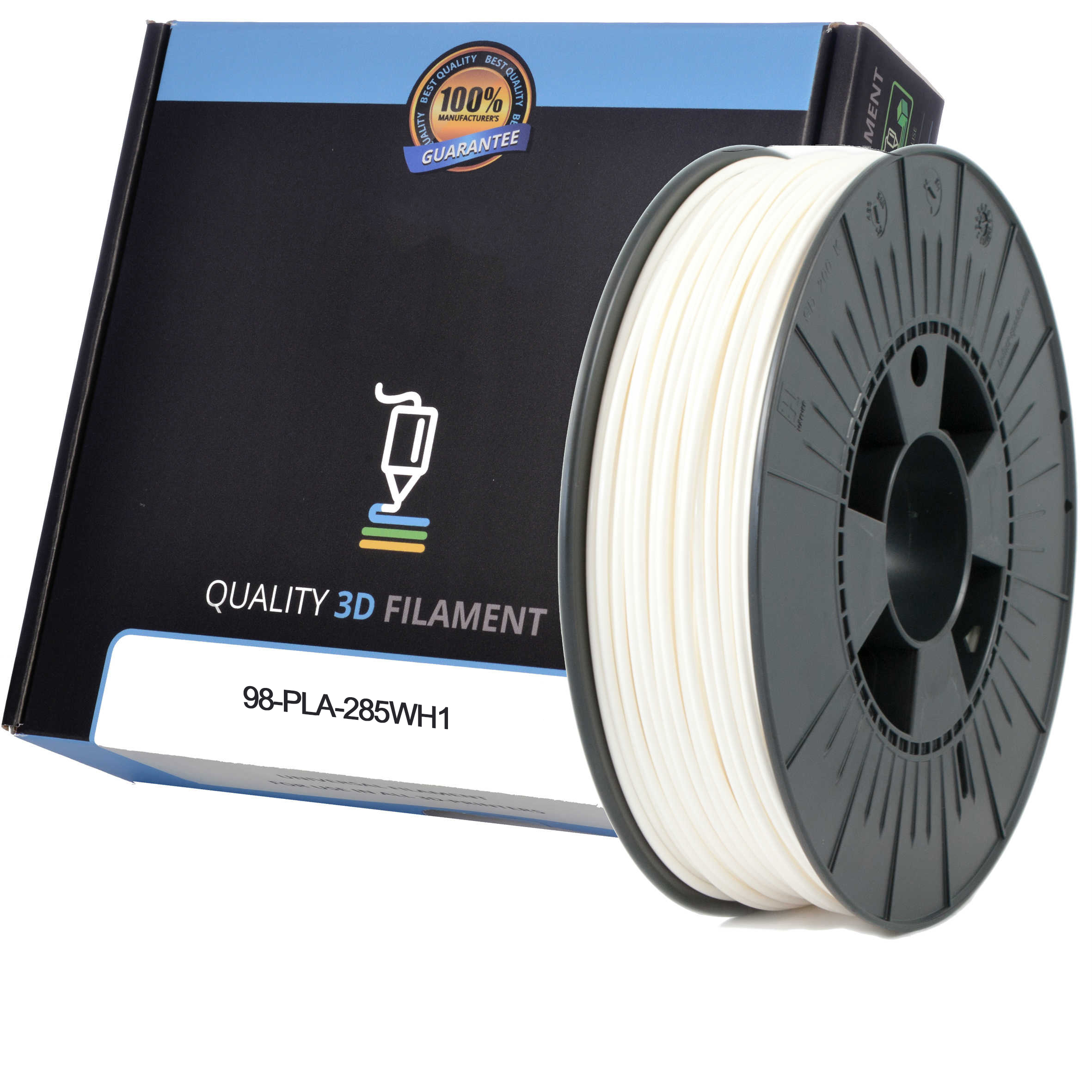 Premium Compatible PLA 2.85mm White 0.5kg 3D Filament (98-PLA-285WH1)