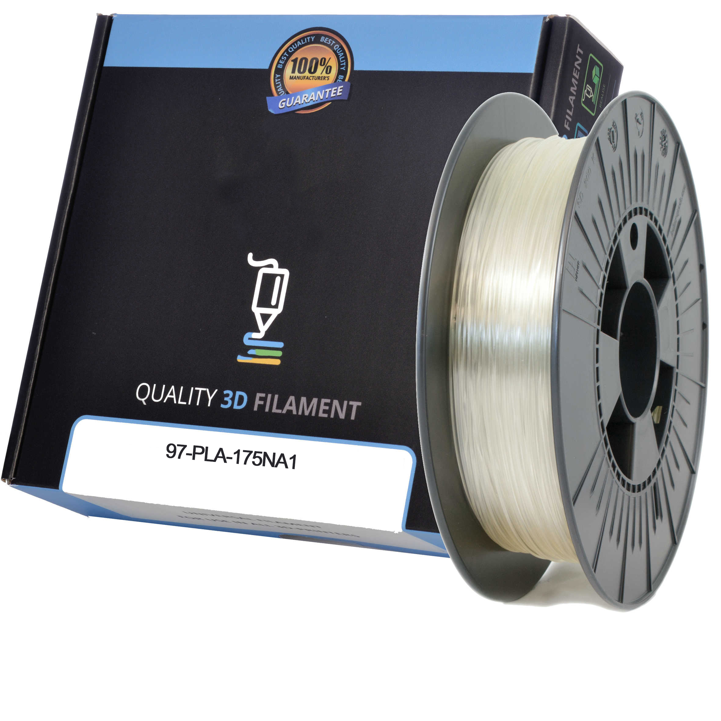 Premium Compatible PLA 1.75mm Natural 1kg 3D Filament (97-PLA-175NA1)