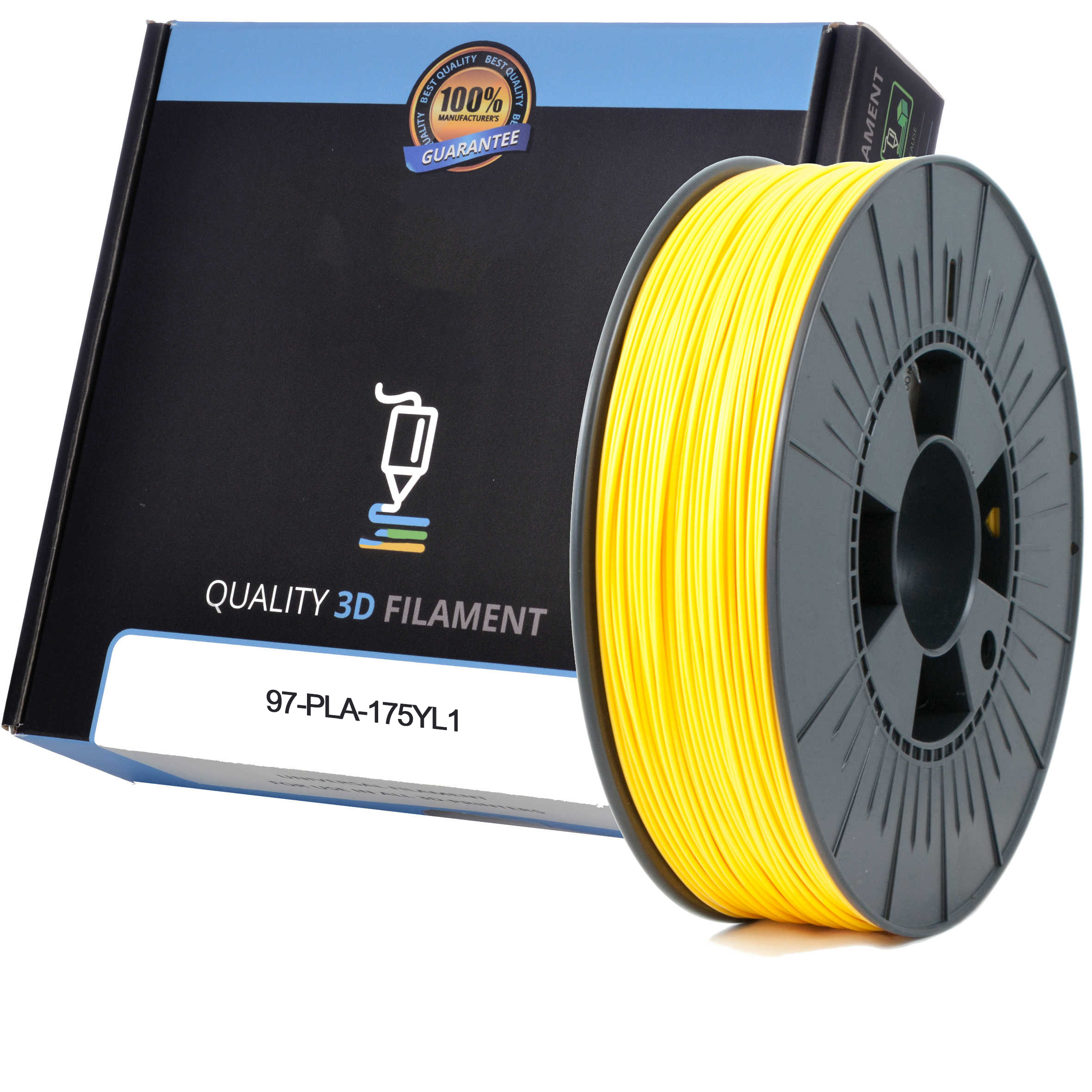 Premium Compatible PLA 1.75mm Yellow 1kg 3D Filament (97-PLA-175YL1)