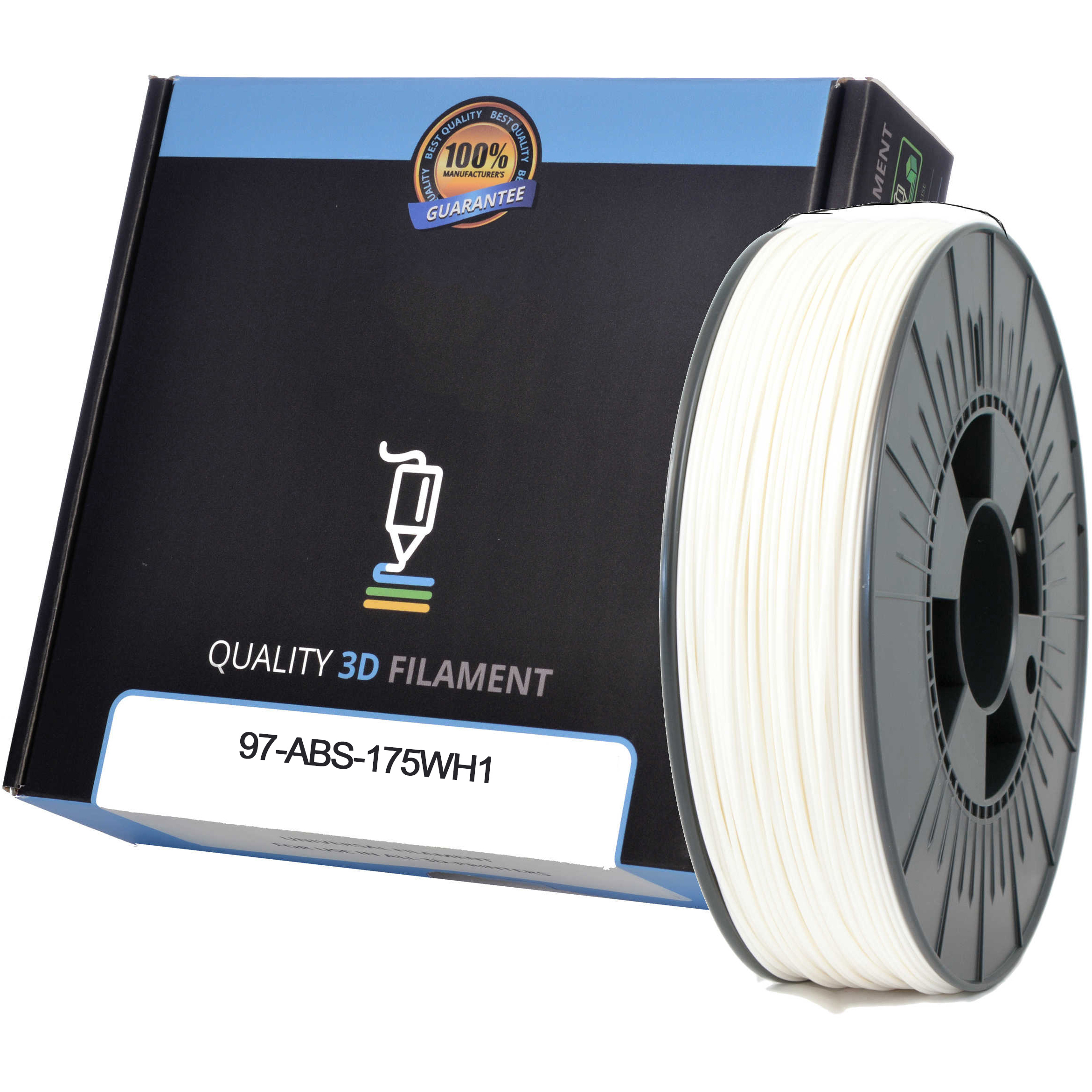 Premium Compatible ABS 1.75mm White 1kg 3D Filament (97-ABS-175WH1)