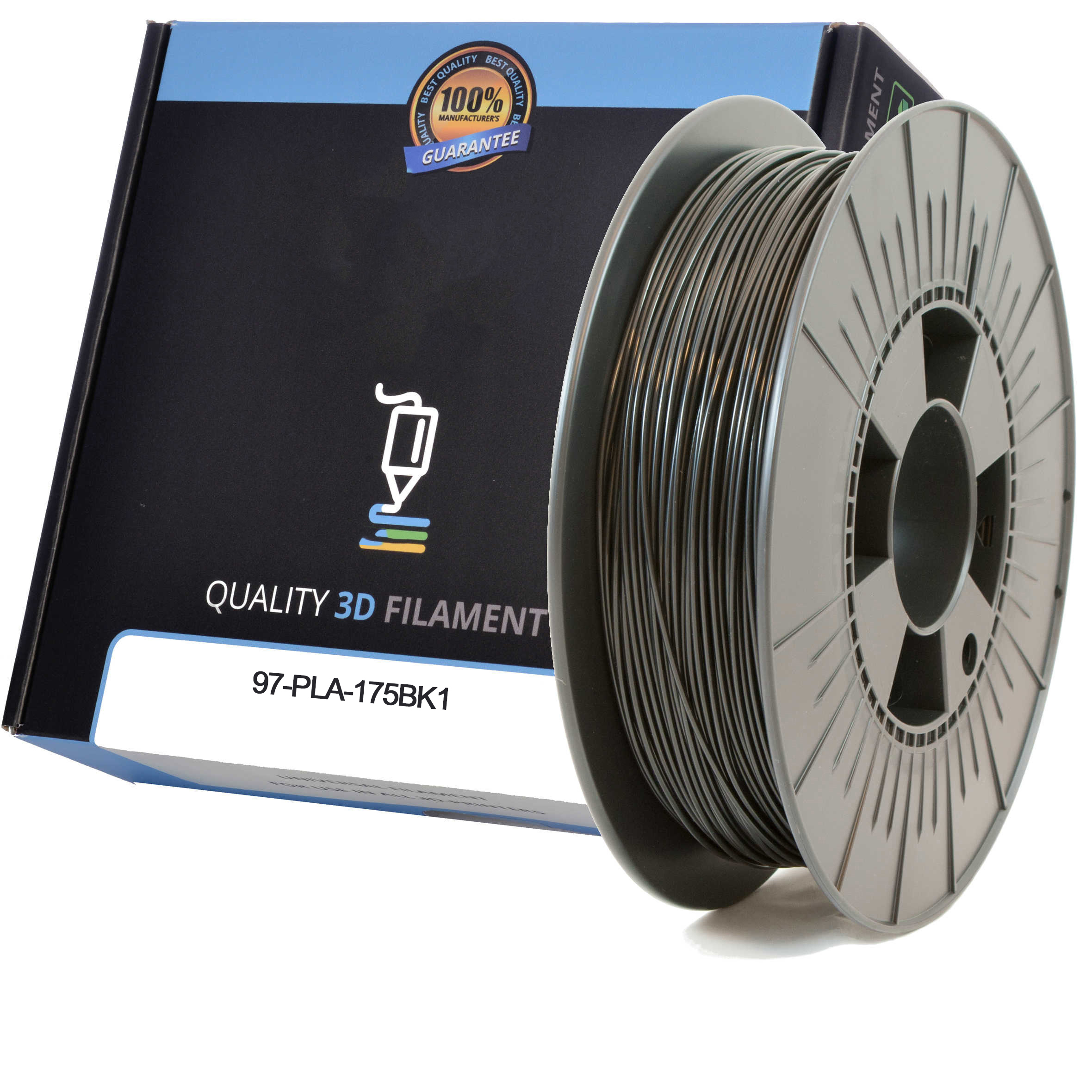 Premium Compatible PLA 1.75mm Black 1kg 3D Filament (97-PLA-175BK1)