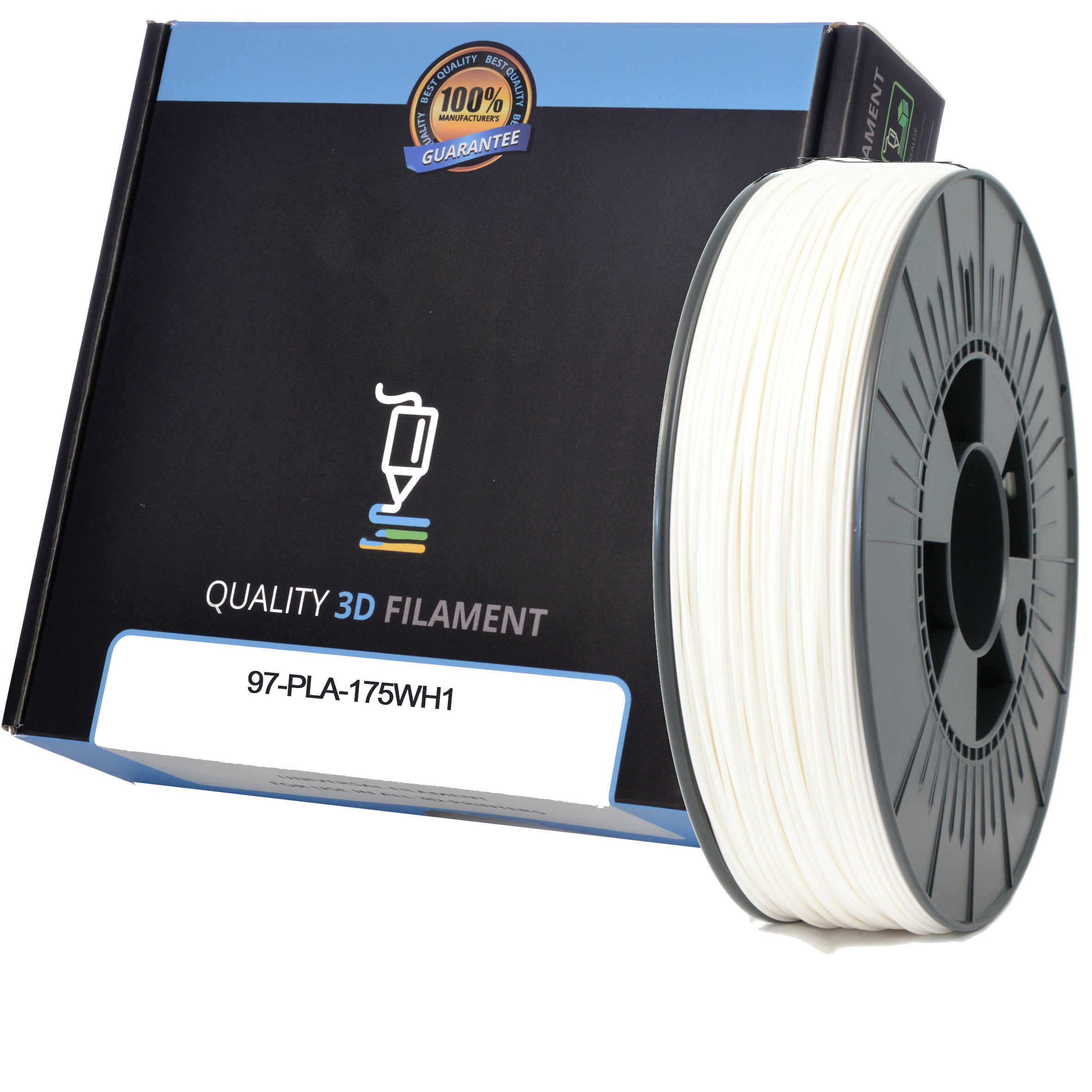 Premium Compatible PLA 1.75mm White 1kg 3D Filament (97-PLA-175WH1)