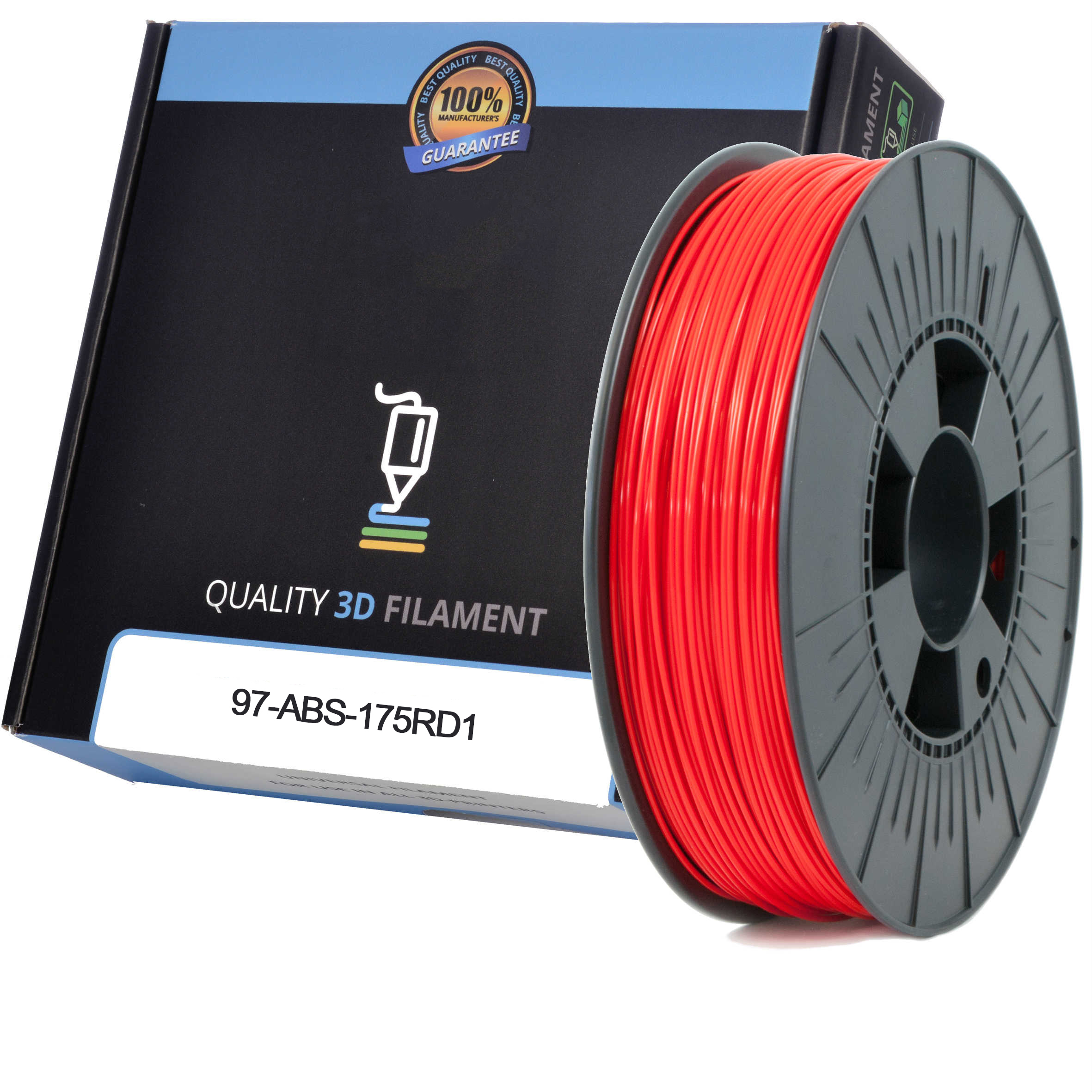 Premium Compatible ABS 1.75mm Red 1kg 3D Filament (97-ABS-175RD1)