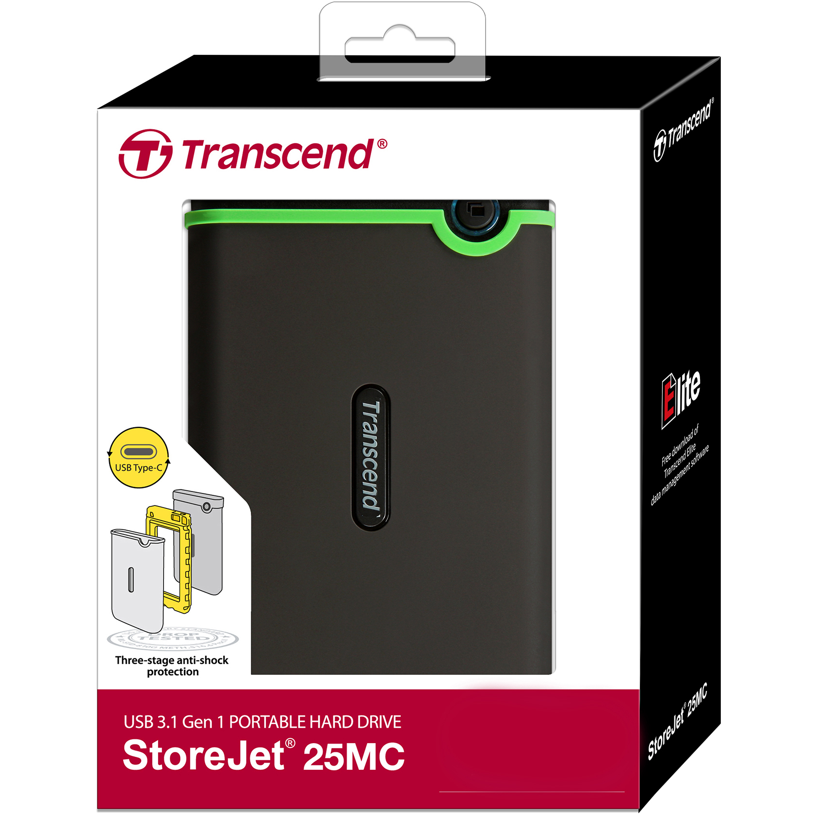 Original Transcend StoreJet 2TB USB Type-C External Hard Drive (TS2TSJ25MC)