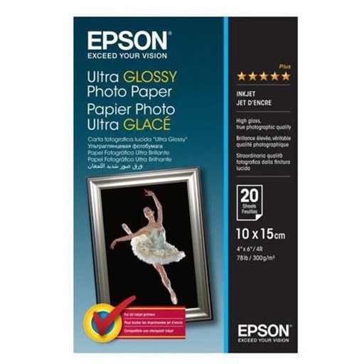 Original Epson 300gsm A6 Photo Paper Ultra Glossy - 20 Sheets (C13S041926)