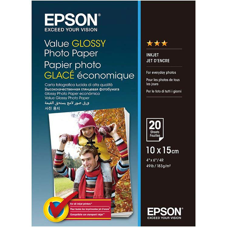 Original Epson 183gsm A6 Glossy Photo Paper - 20 Sheets (C13S400037)