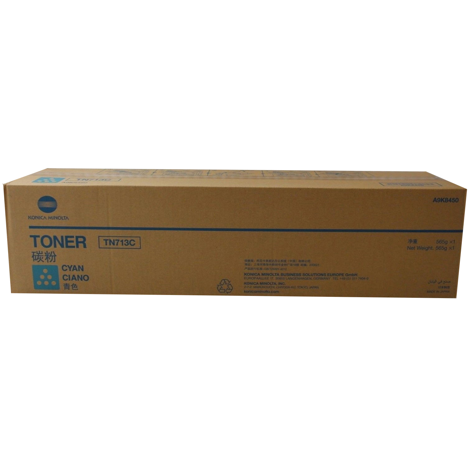 Original Konica Minolta TN-713C Cyan Toner Cartridge (A9K8450)