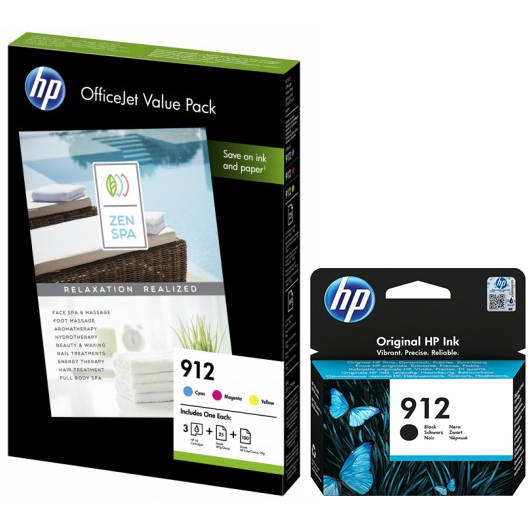 Original HP 912 CMYK Multipack Ink Cartridges & A4 Paper (3YL80AE & 6JR41AE)