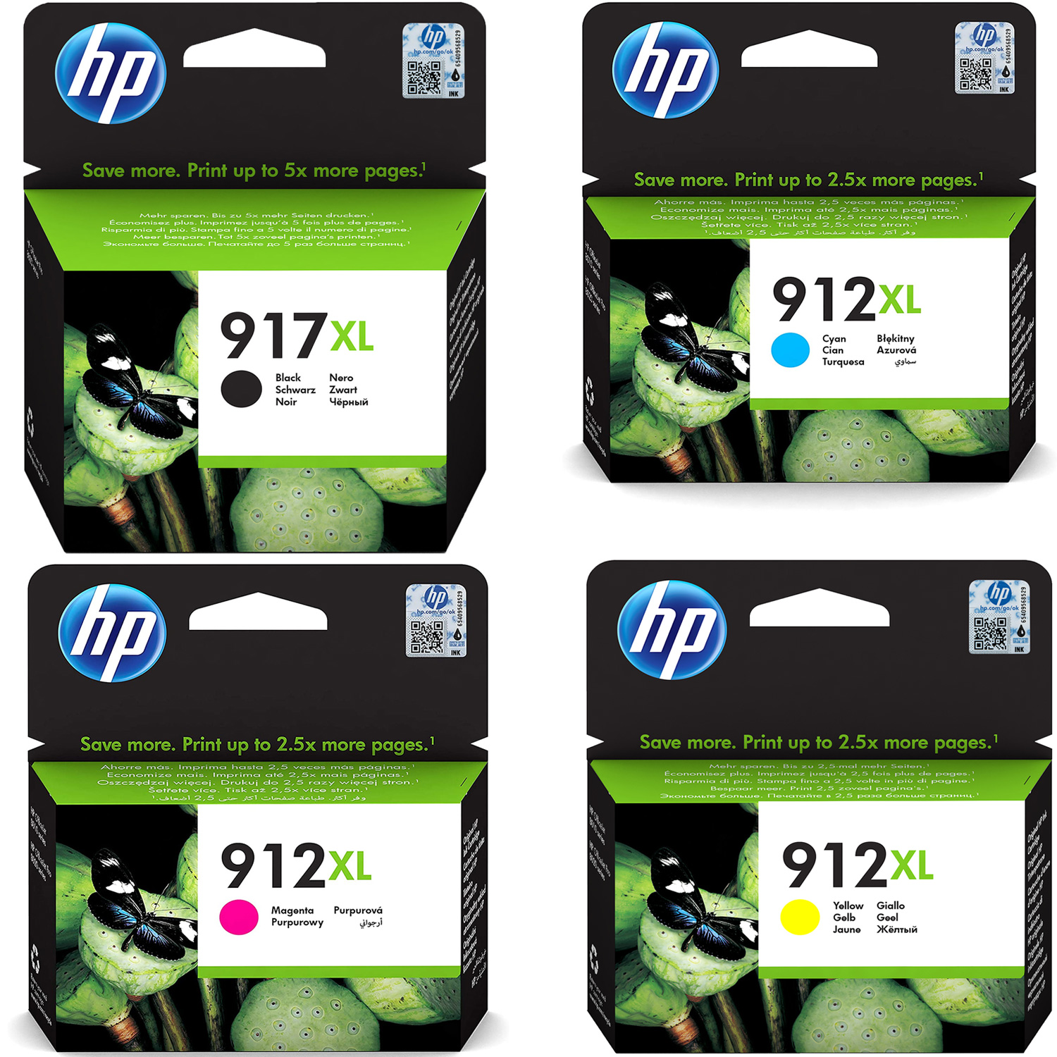 Original HP 917XL / 912XL CMYK Multipack Extra High Capacity Ink Cartridges (3YL85AE/ 3YL81AE/ 3YL82AE/ 3YL83AE)