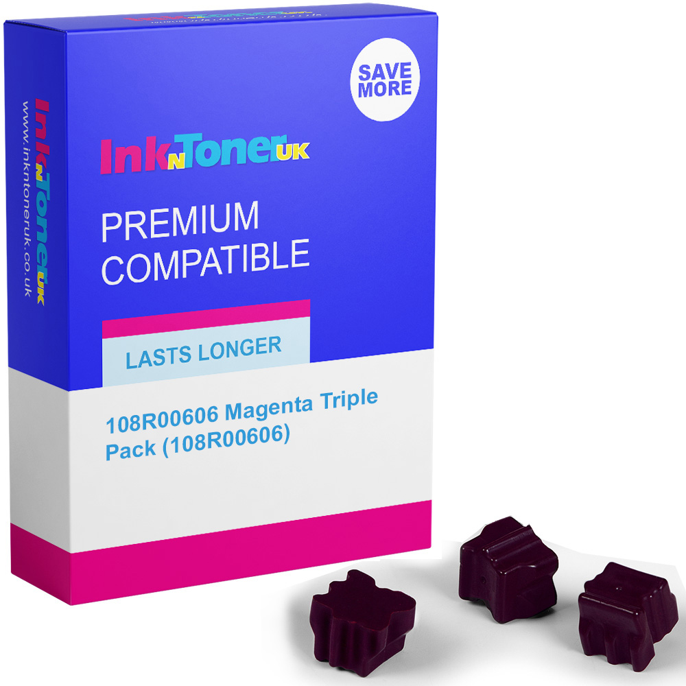 Premium Compatible Xerox 108R00606 Magenta Triple Pack Solid Ink (108R00606)
