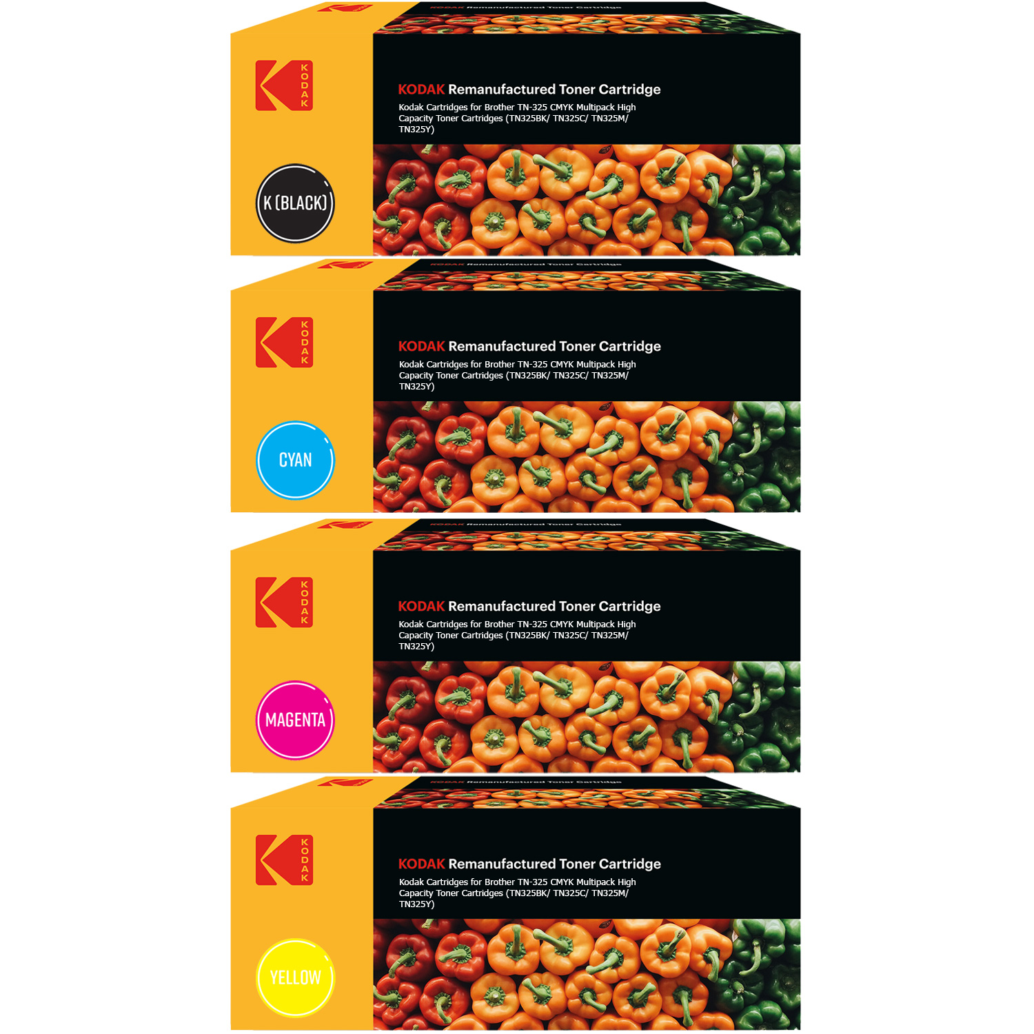 Ultimate Brother TN-325 CMYK Multipack High Capacity Toner Cartridges (TN325BK/ TN325C/ TN325M/ TN325Y) (Kodak KODTN325BK/ KODTN325C/ KODTN325M/ KODTN325Y)