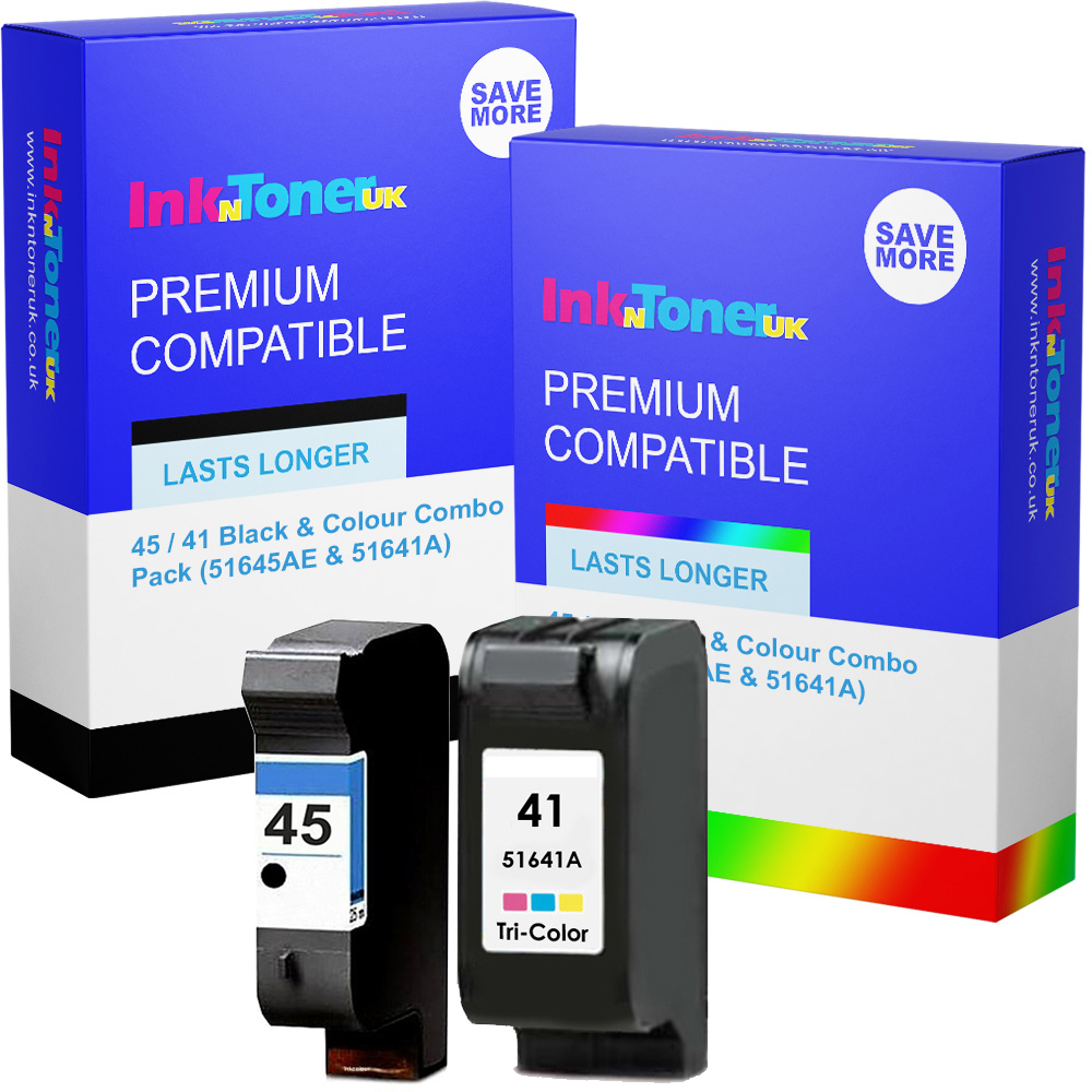 Premium Remanufactured HP 45 / 41 Black & Colour Combo Pack Ink Cartridges (51645AE & 51641A)