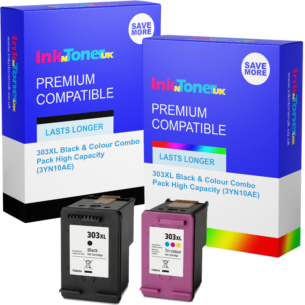 Premium Remanufactured HP 303XL Black & Colour Combo Pack High Capacity Ink Cartridges (3YN10AE)