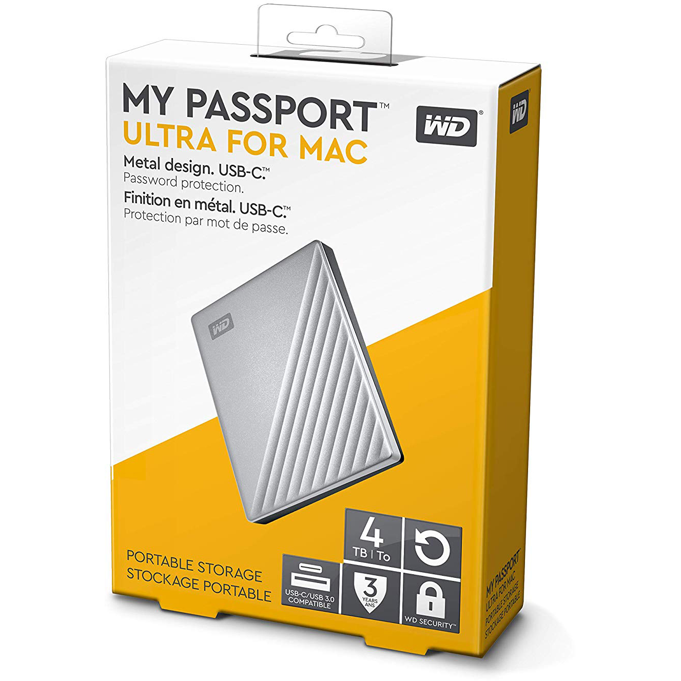 Original Western Digital My Passport Ultra 4TB USB 3.0 External Hard Drive (WDBPMV0040BSL-WESN)