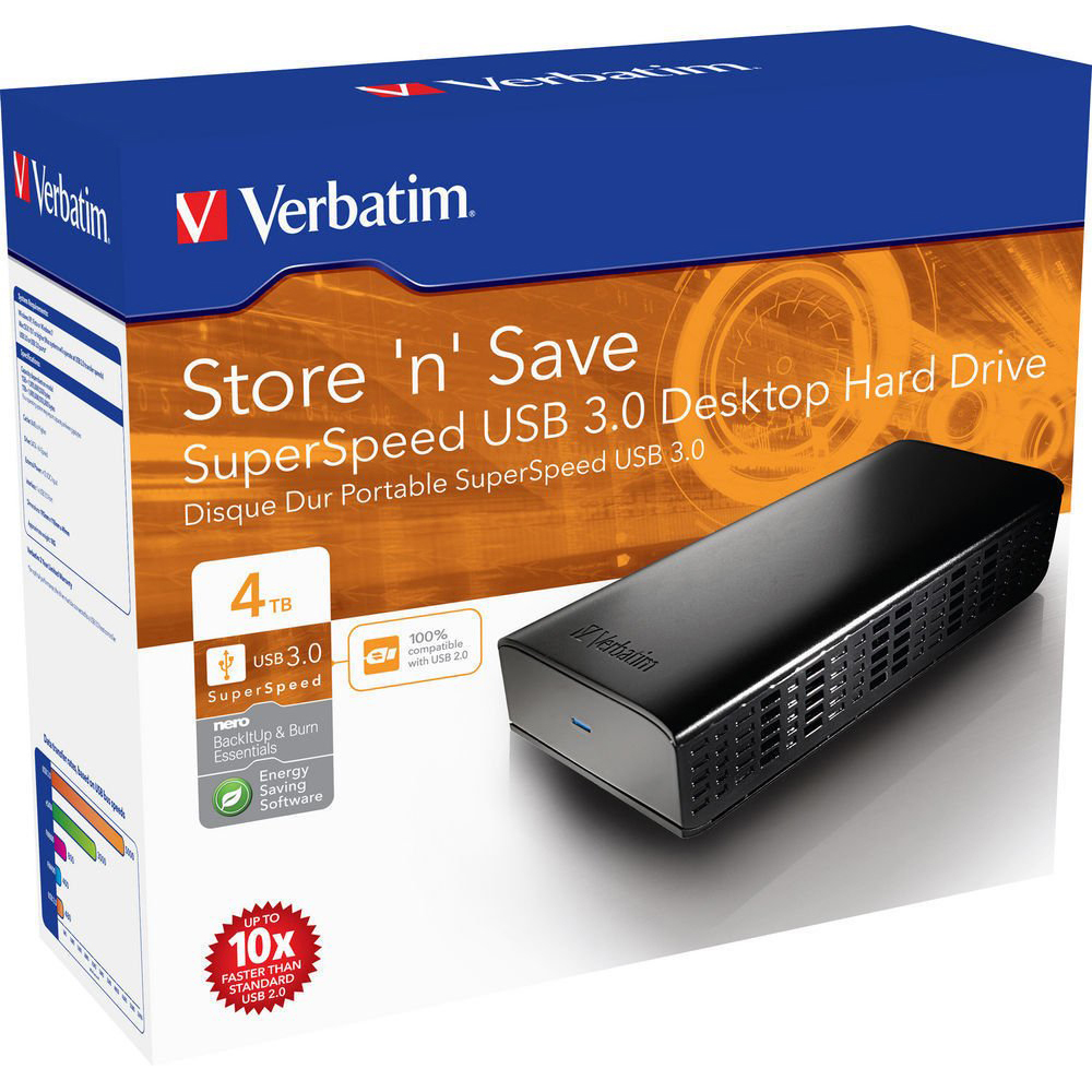 Original Verbatim Store 'N' Save 4TB Black USB 3.0 External Hard Drive (47674)