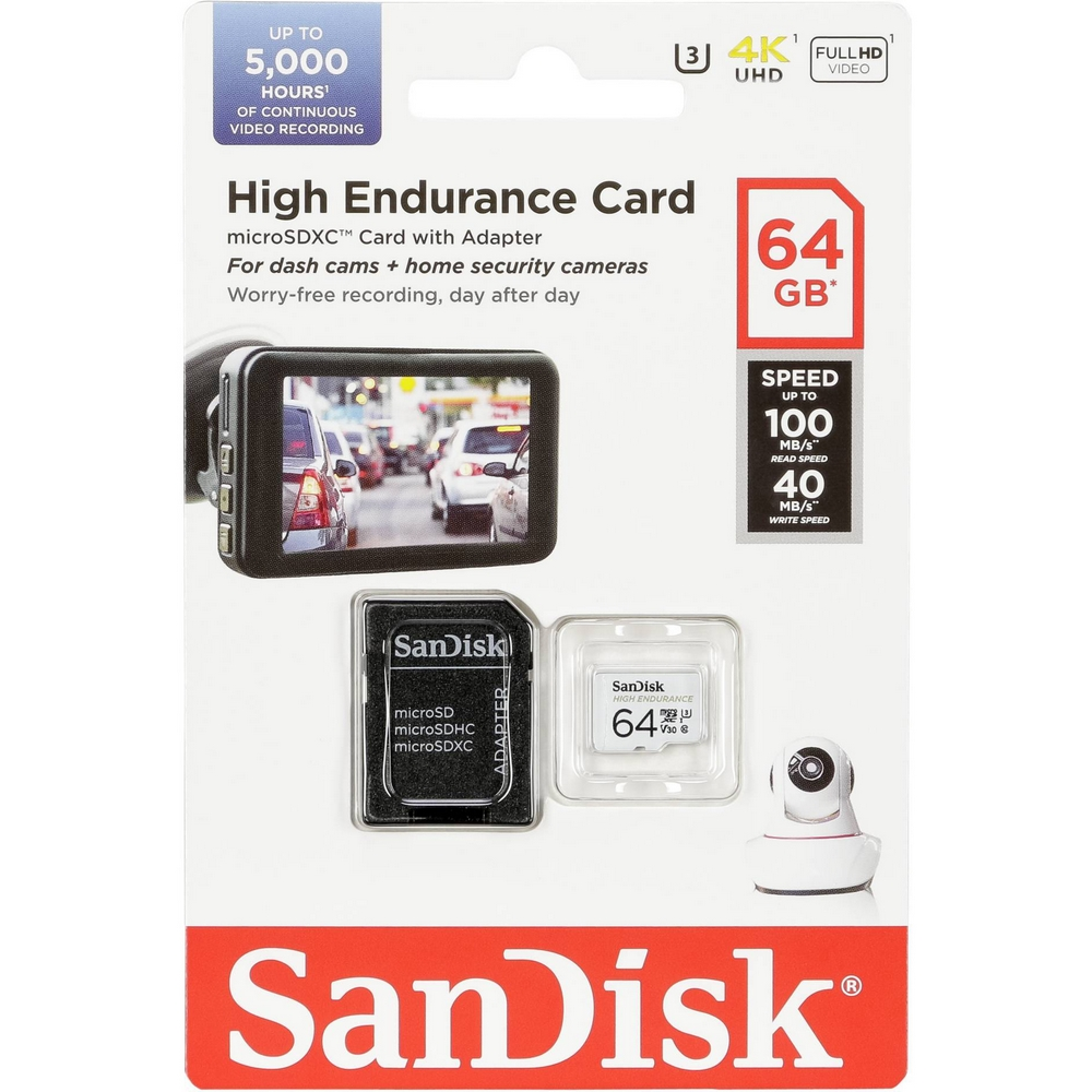 Original SanDisk High Endurance 64GB microSDXC Memory Card + Adapter (SDSQQNR-064G-GN6)