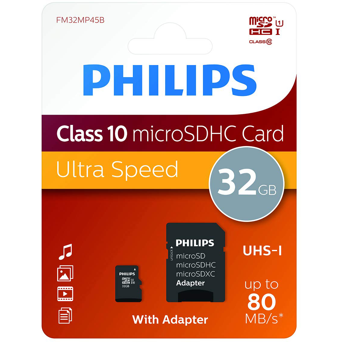 Original Philips Class 10 32GB MicroSD Memory + SD Adapter (PHMSDMA32GBHCCL10)