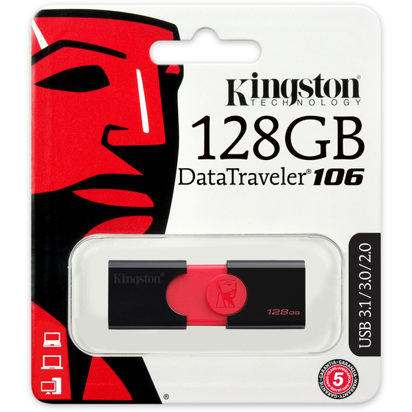 Original Kingston DataTraveler 106 128GB Black USB 3.0 Flash Drive (DT106/128GB)