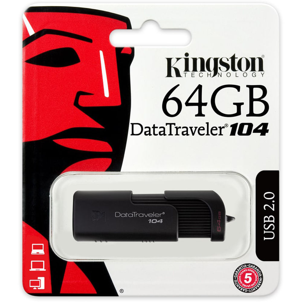 Original Kingston DataTraveler 104 64GB Black USB 2.0 Flash Drive (DT104/64GB)