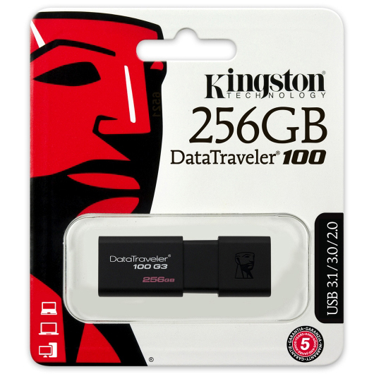 Original Kingston DataTraveler 100 G3 256GB Black USB 3.0 Flash Drive (DT100G3/256GB)
