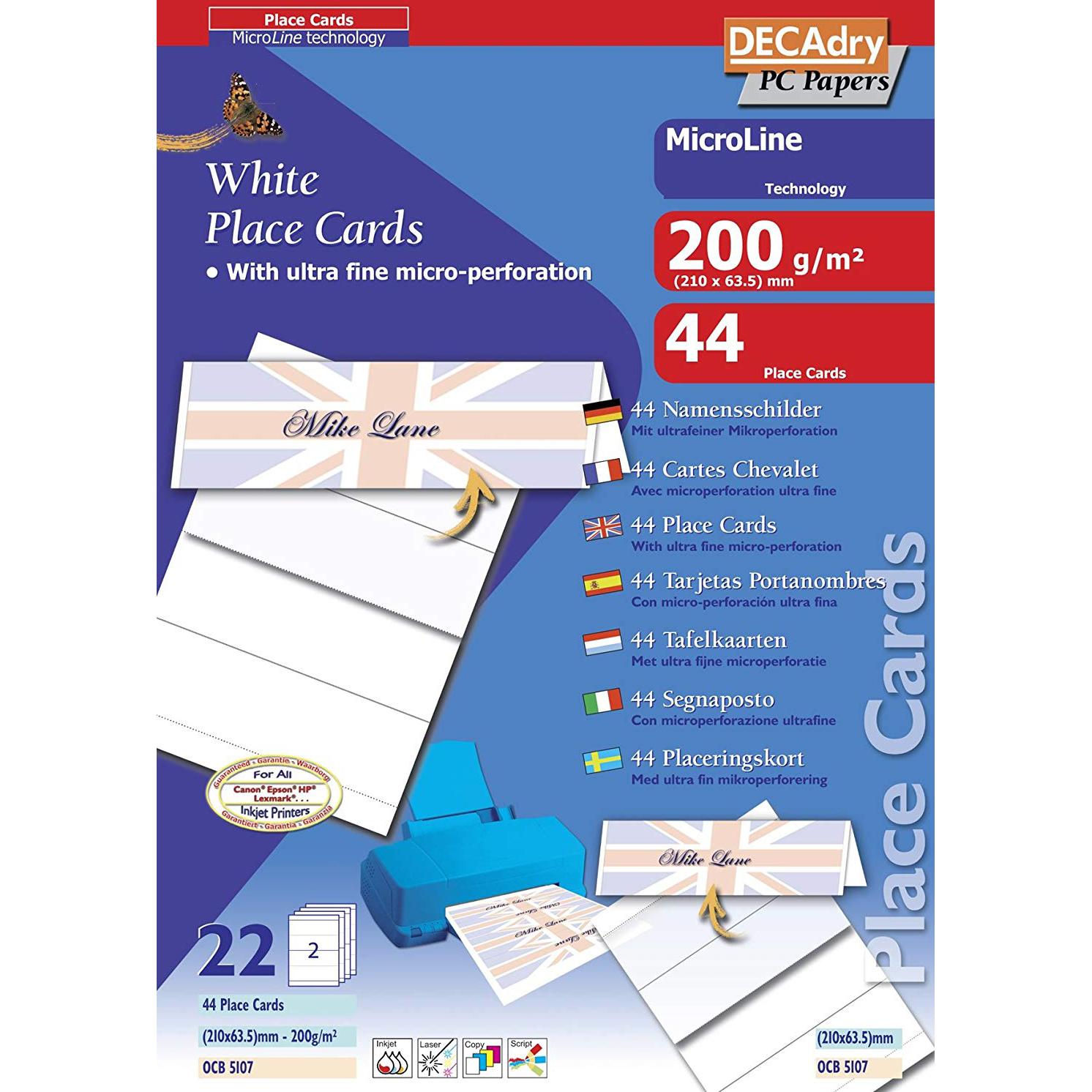 Original Decadry 200gsm A4 Perforated Place Cards - 44 Sheets (OCB5107)