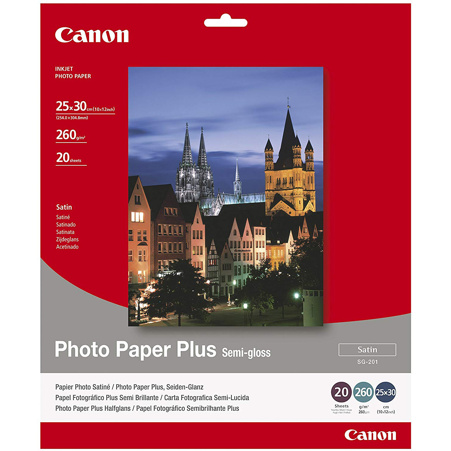 Original Canon SG-201 260gsm 14 x 17in Semi-Gloss Photo Paper Plus - 10 Sheets (SG-201 1686B029)