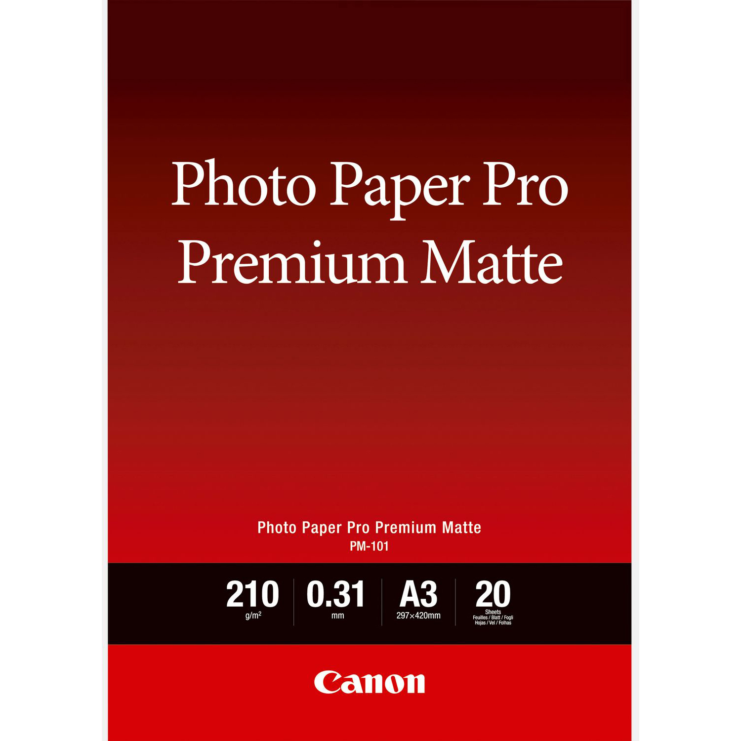 Original Canon PM-101 210gsm A3 Photo Paper - 20 Sheets (8657B006)
