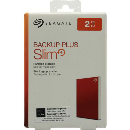 Original Seagate Backup Plus Slim 2TB Red USB 3.0 External Hard Drive (STHN2000403)