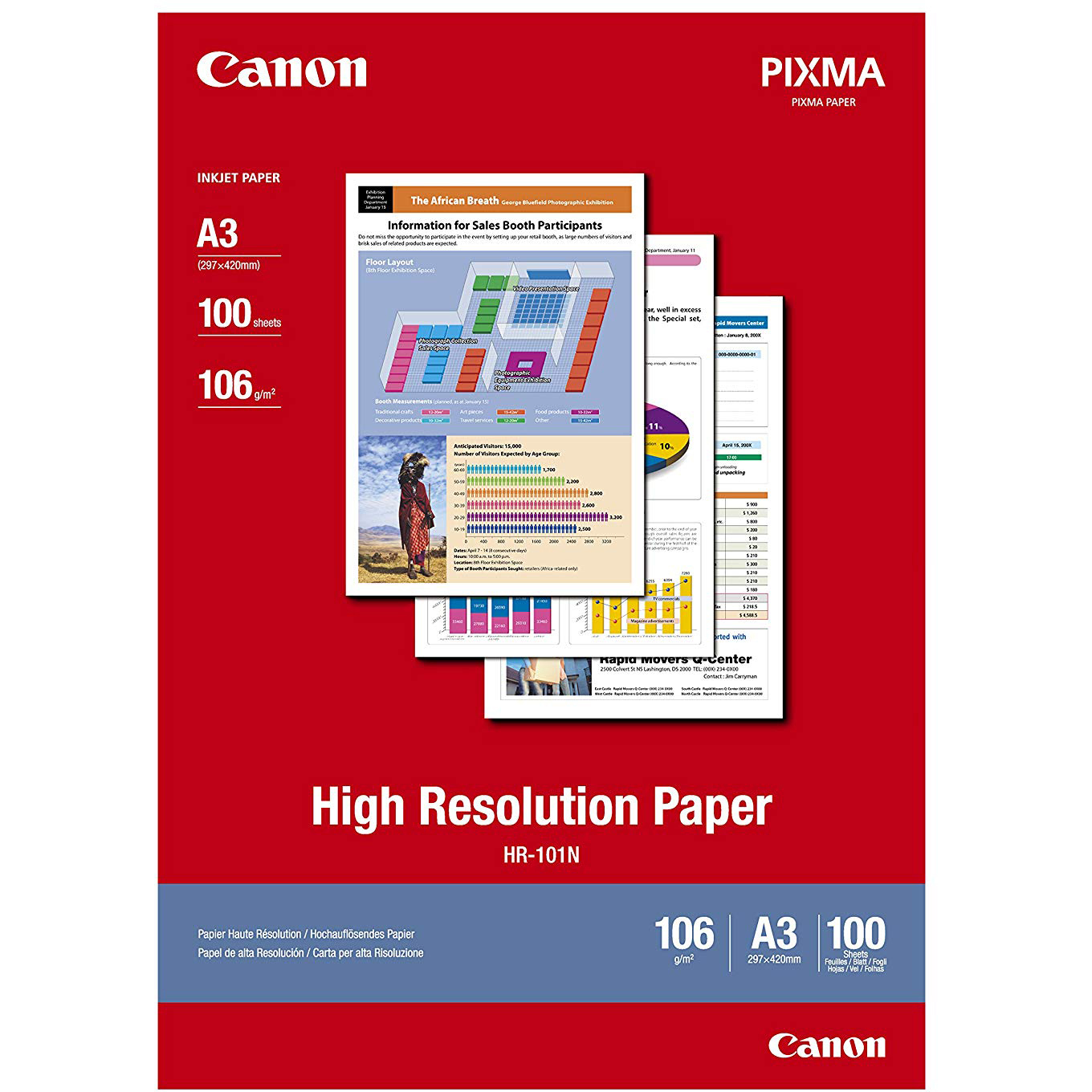 Original Canon CO86855 106gsm A3 High Resolution Inkjet Paper - 100 sheets (HR-101A3)