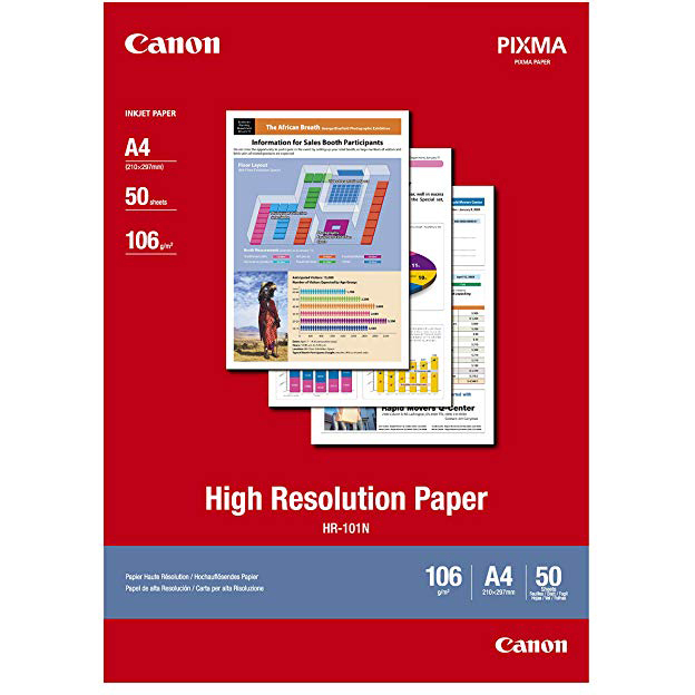 Original Canon HR-101N 106gsm A4 High Resolution Paper - 50 sheets (HR101A450)