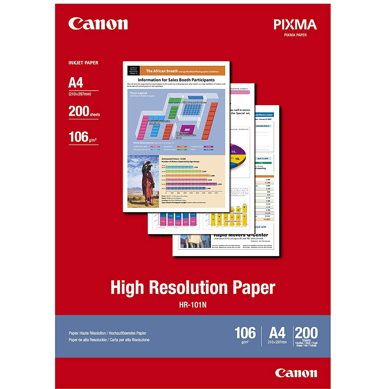 Original Canon 106gsm A4 High Resolution Inkjet Paper - 200 sheets (HR-101A4)