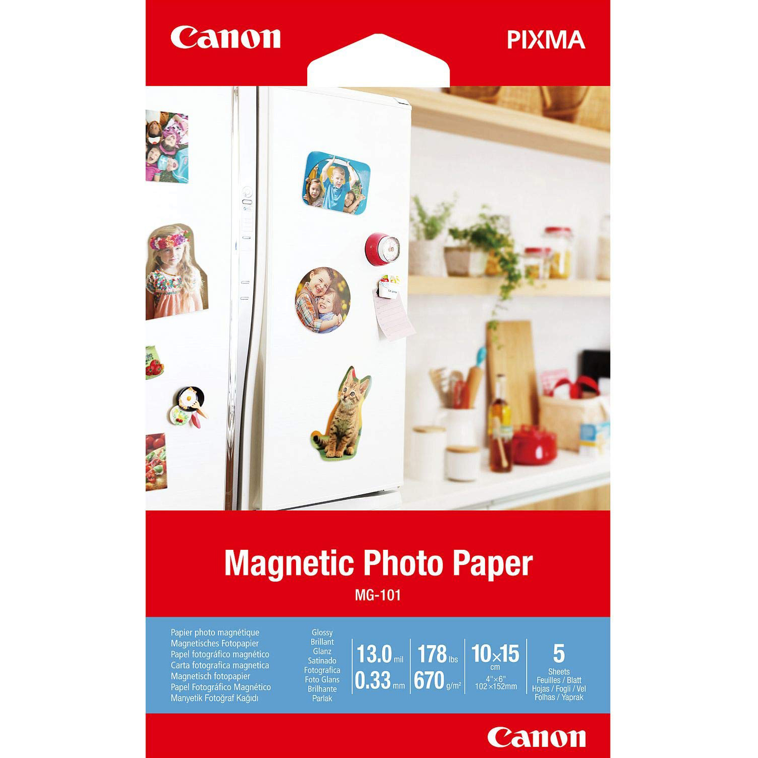 Original Canon MG-101 670gsm 4x6 Magnetic Photo Paper - 5 sheets (3634C002)