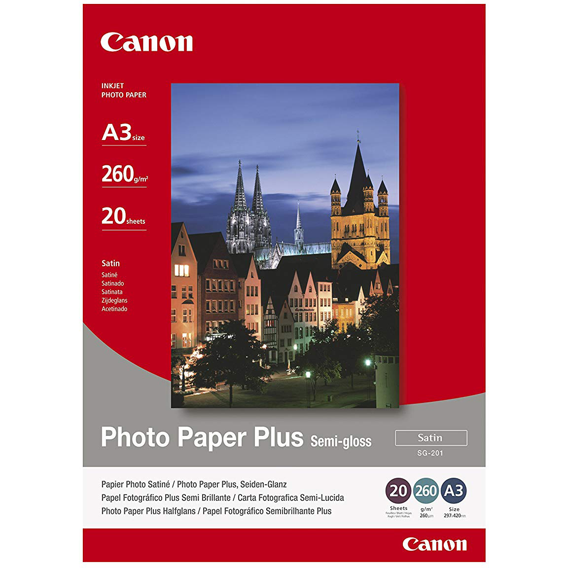 Original Canon SG-201 260gsm A3 Photo Paper Plus - 20 sheets (SG-201 1686B026)