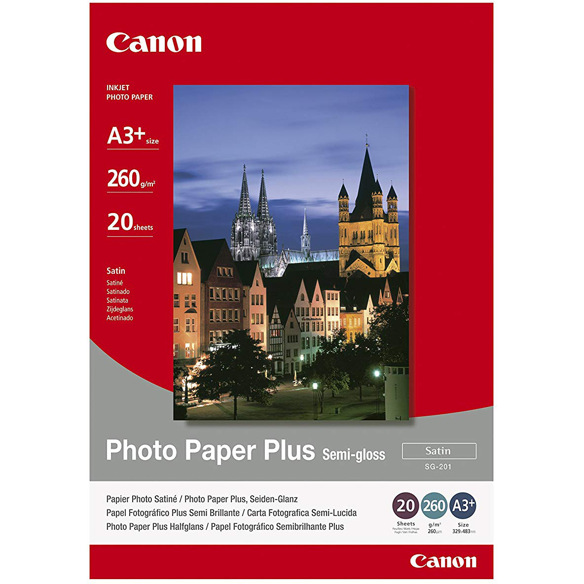 Original Canon SG-201 260gsm A3+ Photo Paper Plus - 20 sheets (SG-201 1686B032)