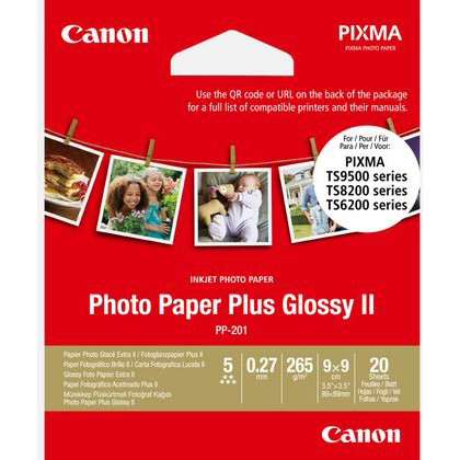 Original Canon PP-201 265gsm 89mm x 89mm Glossy II Photo Paper - 20 sheets (2311B070)