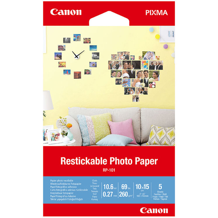 Original Canon RP-101 260gsm 4in x 6in Removable Photo Stickers - 5 sheets (3635C002)