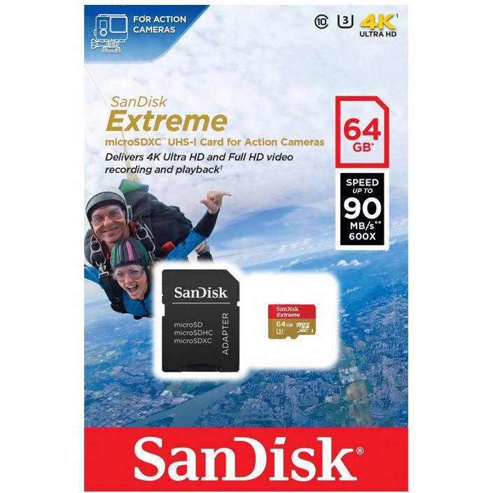 Original SanDisk Extreme Action Class 10 64GB MicroSDXC Memory Card + SD Adapter  (SDSQXNE064GGN6AA)