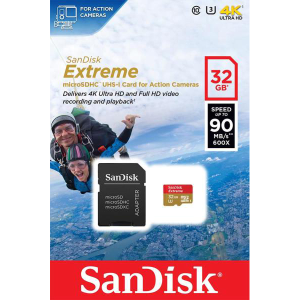 Original Sandisk Extreme Class 10 32GB MicroSDHC Memory card + SD Adapter (SDSQXNE032GGN6AT)
