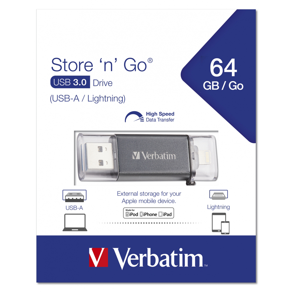 Original Verbatim Store 'n' Go Lightning 64GB USB 3.0 Flash Drive (49301)