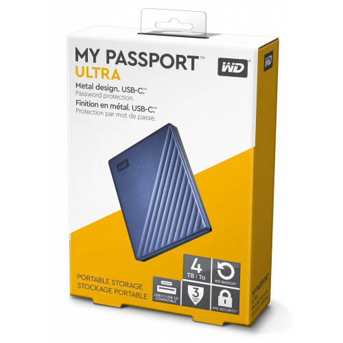 Original Western Digital My Passport Ultra 4TB Blue USB 3.0 External Hard Drive (WDBFTM0040BBL-WESN)