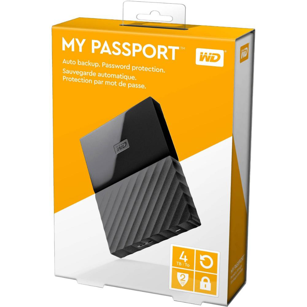 Original Western Digital My Passport 4TB Black USB 3.0 External Hard Drive (WDBYFT0040BBKWE)